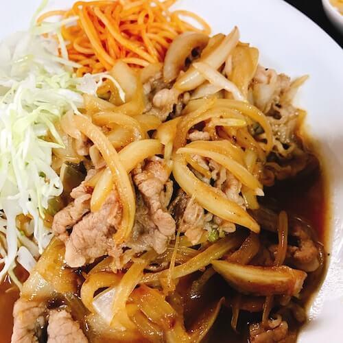伊賀、牛生姜焼き定食の肉、中野